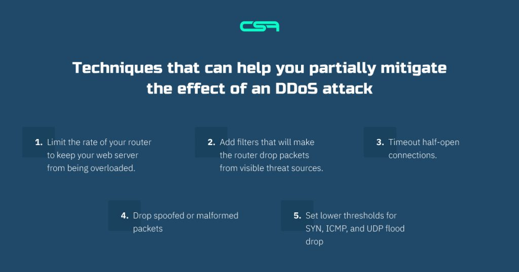 techniques that can help you partially mitigate the effect of an ddos attack